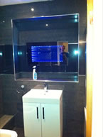 New bathroom with high gloss black tiles