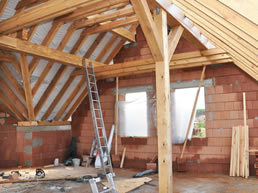 Interior view of roof on house extension in Ashburton